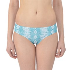 Snake Skin Blue Chevron Wave Hipster Bikini Bottoms by AnjaniArt