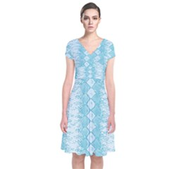 Snake Skin Blue Chevron Wave Short Sleeve Front Wrap Dress