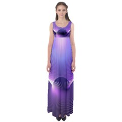 Space Galaxy Purple Blue Line Empire Waist Maxi Dress by AnjaniArt