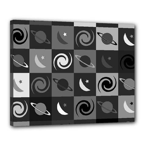 Space Month Saturnus Planet Star Hole Black White Grey Canvas 20  X 16