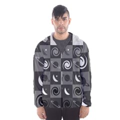 Space Month Saturnus Planet Star Hole Black White Grey Hooded Wind Breaker (men)