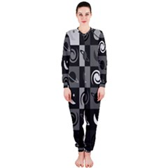 Space Month Saturnus Planet Star Hole Black White Grey Onepiece Jumpsuit (ladies)