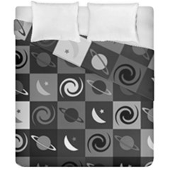 Space Month Saturnus Planet Star Hole Black White Grey Duvet Cover Double Side (california King Size) by AnjaniArt