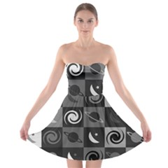 Space Month Saturnus Planet Star Hole Black White Grey Strapless Bra Top Dress