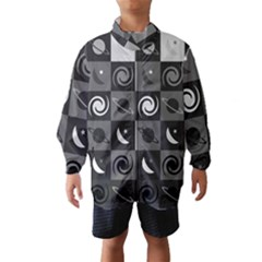 Space Month Saturnus Planet Star Hole Black White Grey Wind Breaker (kids) by AnjaniArt