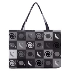Space Month Saturnus Planet Star Hole Black White Grey Medium Zipper Tote Bag by AnjaniArt