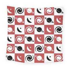 Space Month Saturnus Planet Star Hole Black Pink White Three Square Tapestry (large)