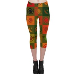 Space Month Saturnus Planet Star Hole Black White Multicolour Orange Capri Leggings  by AnjaniArt