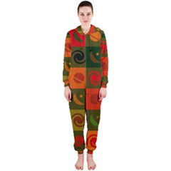 Space Month Saturnus Planet Star Hole Black White Multicolour Orange Hooded Jumpsuit (ladies)  by AnjaniArt