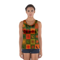 Space Month Saturnus Planet Star Hole Black White Multicolour Orange Women s Sport Tank Top  by AnjaniArt