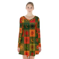 Space Month Saturnus Planet Star Hole Black White Multicolour Orange Long Sleeve Velvet V Neck Dress