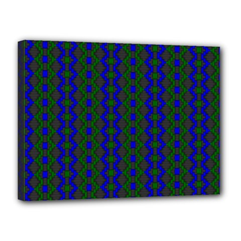 Split Diamond Blue Green Woven Fabric Canvas 16  X 12  by AnjaniArt