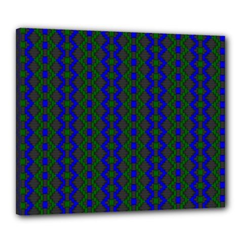 Split Diamond Blue Green Woven Fabric Canvas 24  X 20  by AnjaniArt