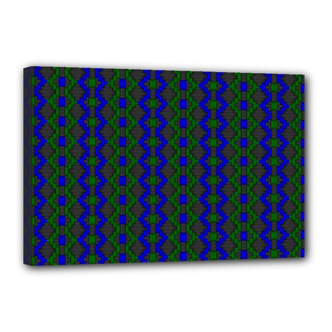 Split Diamond Blue Green Woven Fabric Canvas 18  X 12  by AnjaniArt