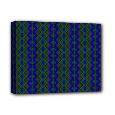 Split Diamond Blue Green Woven Fabric Deluxe Canvas 14  X 11  by AnjaniArt