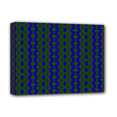 Split Diamond Blue Green Woven Fabric Deluxe Canvas 16  X 12   by AnjaniArt