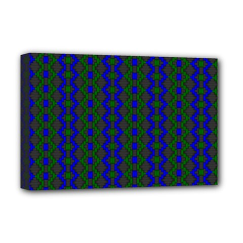 Split Diamond Blue Green Woven Fabric Deluxe Canvas 18  X 12   by AnjaniArt