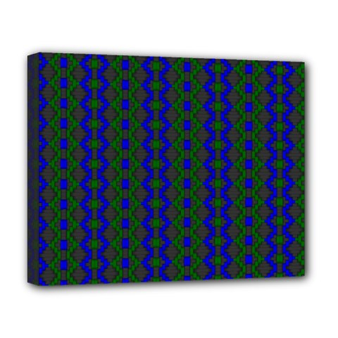 Split Diamond Blue Green Woven Fabric Deluxe Canvas 20  X 16   by AnjaniArt