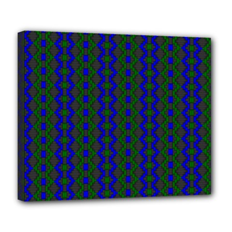 Split Diamond Blue Green Woven Fabric Deluxe Canvas 24  X 20   by AnjaniArt