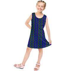 Split Diamond Blue Green Woven Fabric Kids  Tunic Dress by AnjaniArt