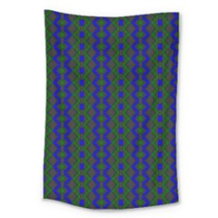 Split Diamond Blue Green Woven Fabric Large Tapestry by AnjaniArt