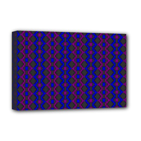 Split Diamond Blue Purple Woven Fabric Deluxe Canvas 18  X 12
