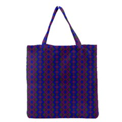 Split Diamond Blue Purple Woven Fabric Grocery Tote Bag by AnjaniArt
