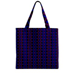 Split Diamond Blue Purple Woven Fabric Zipper Grocery Tote Bag by AnjaniArt