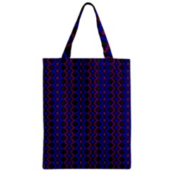 Split Diamond Blue Purple Woven Fabric Zipper Classic Tote Bag by AnjaniArt