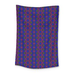 Split Diamond Blue Purple Woven Fabric Small Tapestry by AnjaniArt