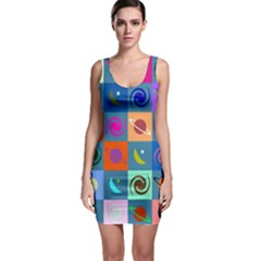 Space Month Saturnus Planet Star Hole Multicolor Sleeveless Bodycon Dress