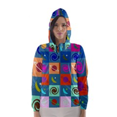 Space Month Saturnus Planet Star Hole Multicolor Hooded Wind Breaker (women) by AnjaniArt