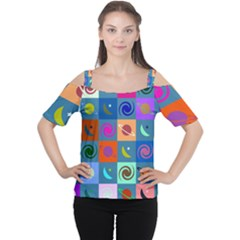 Space Month Saturnus Planet Star Hole Multicolor Women s Cutout Shoulder Tee by AnjaniArt