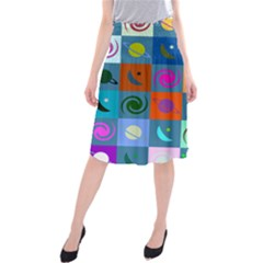 Space Month Saturnus Planet Star Hole Multicolor Midi Beach Skirt by AnjaniArt
