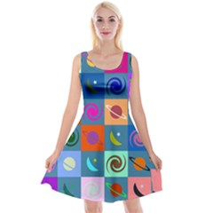 Space Month Saturnus Planet Star Hole Multicolor Reversible Velvet Sleeveless Dress by AnjaniArt