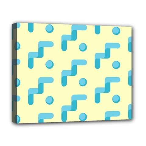 Squiggly Dot Pattern Blue Yellow Circle Deluxe Canvas 20  X 16   by AnjaniArt