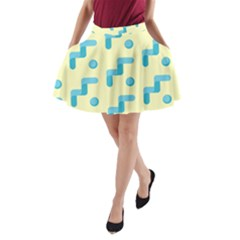 Squiggly Dot Pattern Blue Yellow Circle A Line Pocket Skirt by AnjaniArt