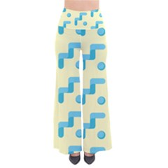 Squiggly Dot Pattern Blue Yellow Circle Pants by AnjaniArt