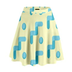 Squiggly Dot Pattern Blue Yellow Circle High Waist Skirt by AnjaniArt
