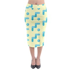 Squiggly Dot Pattern Blue Yellow Circle Midi Pencil Skirt by AnjaniArt