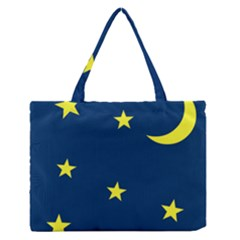 Star Moon Blue Sky Medium Zipper Tote Bag