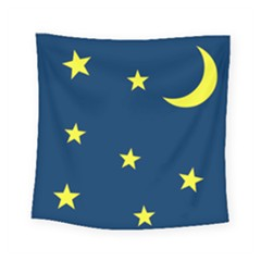 Star Moon Blue Sky Square Tapestry (small) by AnjaniArt