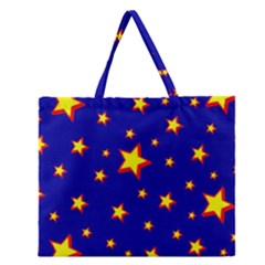Star Blue Sky Yellow Zipper Large Tote Bag