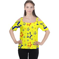 Star Yellow Red Blue Women s Cutout Shoulder Tee by AnjaniArt