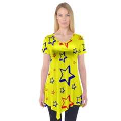 Star Yellow Red Blue Short Sleeve Tunic