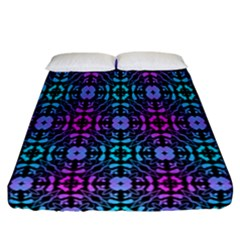Star Flower Background Pattern Colour Fitted Sheet (california King Size)