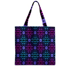 Star Flower Background Pattern Colour Zipper Grocery Tote Bag by AnjaniArt