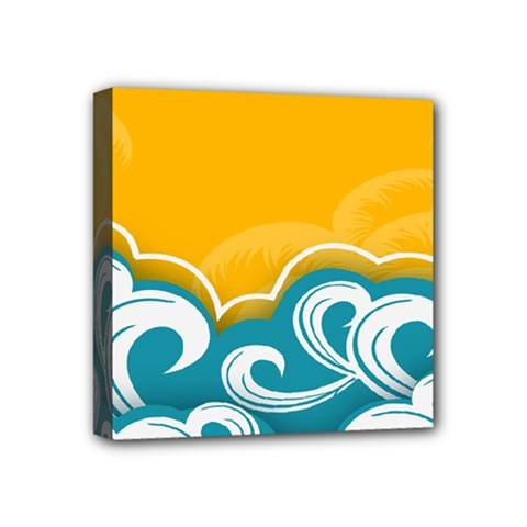 Summer Sea Water Wave Tree Yellow Blue Mini Canvas 4  X 4