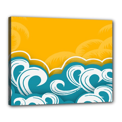 Summer Sea Water Wave Tree Yellow Blue Canvas 20  X 16  by AnjaniArt