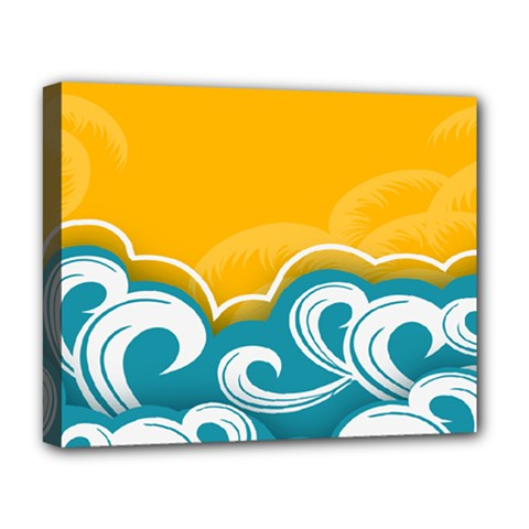 Summer Sea Water Wave Tree Yellow Blue Deluxe Canvas 20  X 16   by AnjaniArt